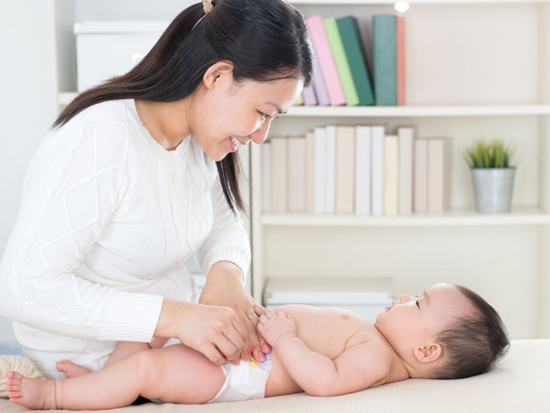diapering a newborn